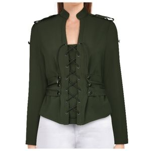Plus Size Gothic Army Lace Up Military Jacket